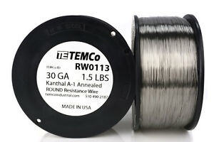 Temco Kanthal A1 Wire 30 Gauge 1 5 Lb 6213 Ft Resistance Awg A 1 Ga