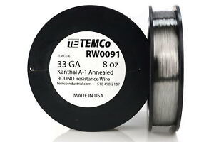 Temco Kanthal A1 Wire 33 Gauge 8 Oz 4108 Ft Resistance Awg A 1 Ga
