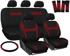Truck Seat Covers For Dodge Ram Red Black W Steering Wheel Belt Pads Head Rests