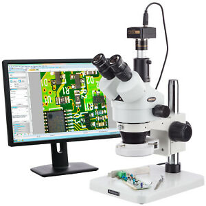 Amscope 7x 45x Dissecting Circuit Zoom Stereo Microscope 144 led 5mp Digital
