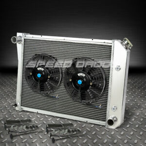 3 Row Aluminum Racing Radiator 2x 9 Fan 71 87 Chevy Olds Pontiac Small Block Sbc