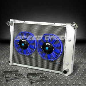 3 Row Aluminum Racing Radiator 2x 9 Blue Fan 71 88 Chevy Small Block Camaro Sbc