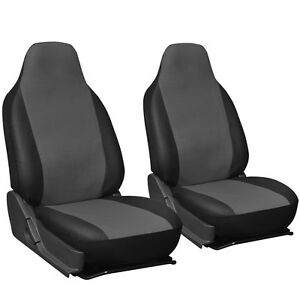 Faux Leather Suv Van Truck Seat Cover Grey Black 2pc W Integrated Head Rests