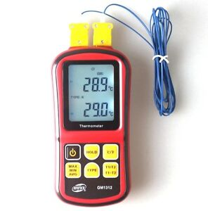 Digital K type Dual Channel Lcd Display Thermometer Thermocouple Sensor C f