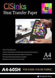 60 Sheets A4 8 27 X 11 7 Dark Fabric Inkjet Heat Transfer Paper