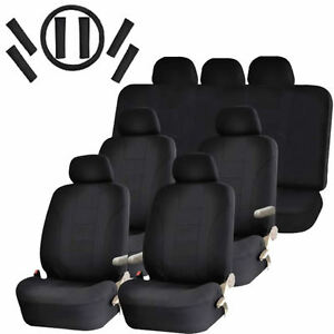 New Racing Seat Covers For Vans 30pc Solid Black Steering Wheel Belt Head Rests