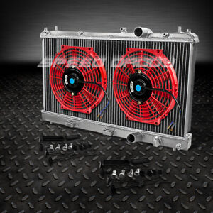 2 Row Full Aluminum Racing Radiator 2 X 10 Red Fans 95 99 Dodge Plymouth Neon