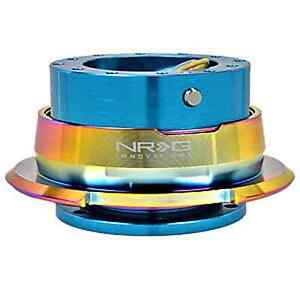 Nrg Gen 2 8 Blue Body Neo Chrome Ring Steering Wheel Quick Release Kit 6 Hole