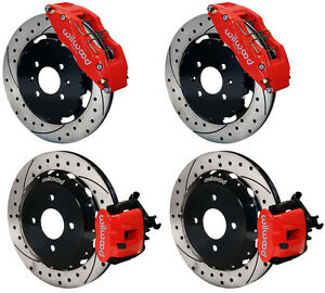 Wilwood Disc Brake Kit Honda Civic 10736 10211 12 Drilled Rotors Red 6 Piston F