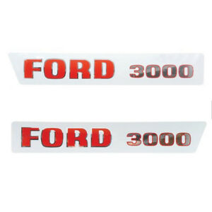 Ford 3000 1965 1968 3 cyl Tractor Basic Hood Decal Set