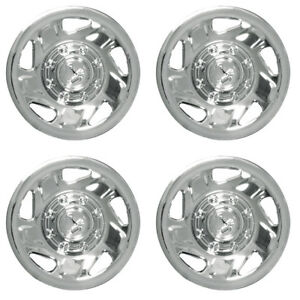 4 Pc Hubcaps Fits Ford Truck Van 16 Chrome Steel Retention Replacement Cover