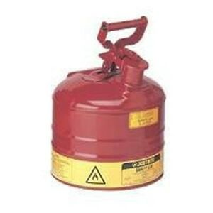 New Justrite 7120100 Usa Made 2 Gallon Steel Type 1 Safety Gas Fuel Can Sale