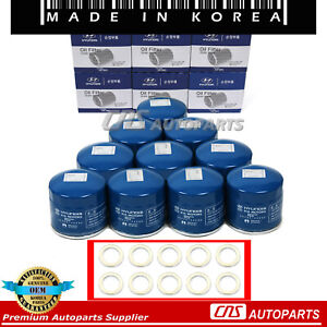 Genuine Oil Filter W Washers 10pcs Oem 26300 35503 For 86 17 Hyundai Kia