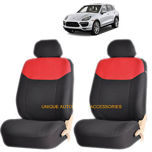 Red Elegant Airbag Compatible Front Lowback Seat Cover Set For Porsche Cayenne