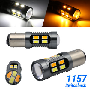 1157 Led White Amber Drl Switchback Turn Signal Parking Light Bulbs Dual Color