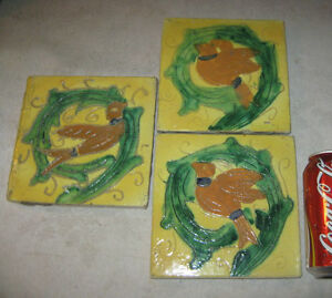 3 Antique Hand Made Pottery Bird Art Tile Rookwood Trivet Grueby Kitchen Bath