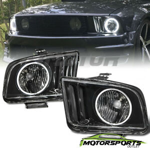 Ccfl Halo 2005 2006 2007 2008 2009 Ford Mustang Black Ccfl Halo Headlights Set