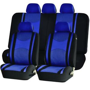 Blue Front Back Split Bench Seat Covers 9pc Set For Dodge Ram Journey
