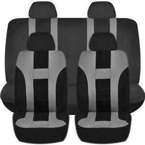 Gray Black Double Stitch Seat Covers 8pc Set For Honda Pilot