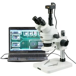 Amscope 3 5x 180x Manufacturing 144 led Zoom Stereo Microscope With 3mp Digital