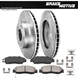 Front Drill And Slot Brake Rotors Ceramic Pads For Acura Honda Odyssey