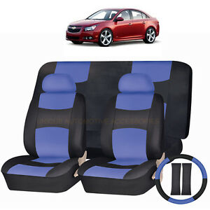 Pu Leather Blue Black Seat Covers 11pc Set For Chevrolet Cruze Cobalt