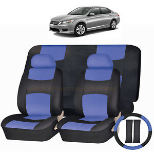 Pu Leather Blue Black Seat Covers 11pc Set For Honda Pilot Accord