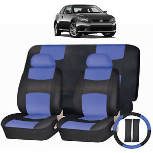 Pu Leather Blue Black Seat Covers 11pc Set For Scion Tc Xb