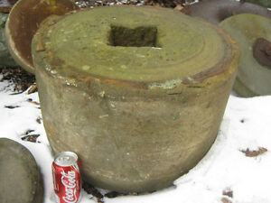 2 Antique Flower Garden Grinding Stone Stand Table Bench Mill Yard Art Statue