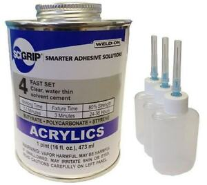 Weld on 4 Acrylic Adhesive pint And 3 pack Applicator Bottles