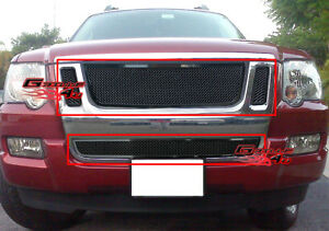 Fits Ford Explorer Sport Trac Black Mesh Grille Combo 07 10