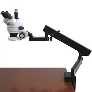 Amscope 7x 45x Articulating Clamp Arm Zoom Trinocular Stereo Microscope W Light