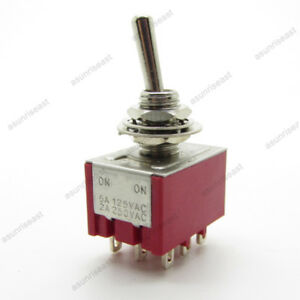 5 mini Toggle Switch 3pdt 2 Position On on 9 pin 250v 2a 120v 5a Red Mts 302