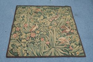 Old Antique Flemish Verdure Tapestry Textile Hand Woven Silk Wool 32 X 32