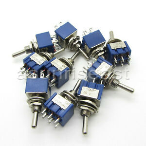 100 X Mini Toggle Switch Dpdt On on Two Position Blue 6a 125v 3a 250v Mts 202