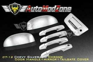 07 13 Chevy Silverado Chrome 4 Door Tailgate Handle Mirror Cover Combo