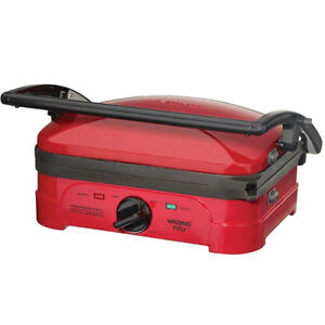 New Waring Pro Grill Panini Maker Wgg500rq Griddle Red