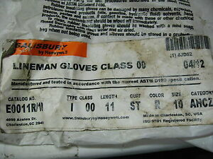 Salisbury Insulating Rubber Lineman Gloves Size 10 Red Ec8 3