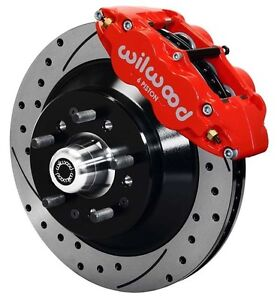 Wilwood Disc Brake Kit Front 79 86 Gm 13 Drilled 1 Piece Rotors 6 Piston Red