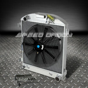 3 row Full Aluminum Chop Radiator 14 fan 32 Ford Hi boy Street Rod Chevy Engine