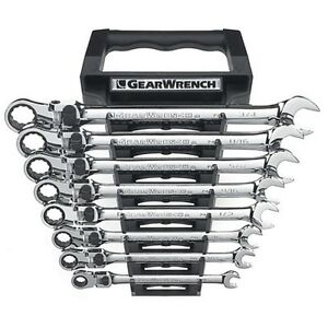 Gearwrench 85798 8 Piece Xl Locking Flex Head D B Ratcheting Socketing Wrench