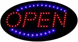 Animated Light up Led Neon Open Sign With Chain 19x10 Oval