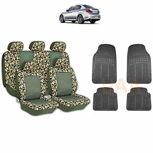 13pc Green Camo 2 Tone Seat Covers Black Rubber Floor Mats Set For Cars 1763