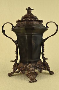 Bronze Urn Elegant Bas Relief Planter W Sculpted Swan Handles For Home Or Patio