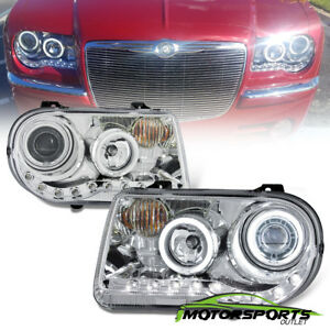 Dual Ccfl Halo 2005 2010 Chrysler 300c Led Projector Chrome Headlights Set