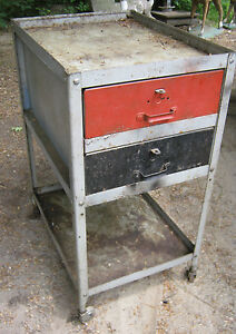 Antique Industrial Factory Steel Castor Draw Tool Chest Cart Table Stand Holder