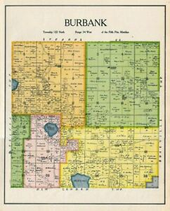 Burbank Township Of Kandiyohi County Minnesota Rare 1905 Color Map Burbank