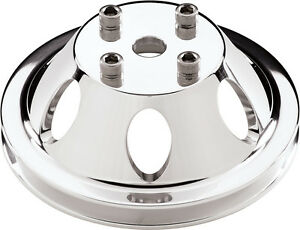 Billet Specialties Sbc bbc Polished Water Pump Pulley long 1 V belt Groove chevy