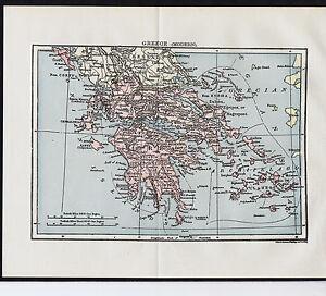 Greece Century Old 1904 Color Map