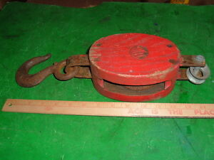 Vtg Uw Wood Pulley Farm Barn Hay Sail Boat Nautical